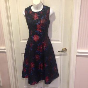 ⬇️NWOT black flared dress with large florals